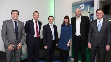 Twin Towns 1K's Graham Hoare, Managing director of Lloyds Bank SME commercial Gareth Oakley, MP for