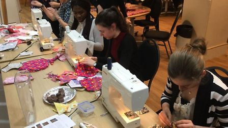 Students from Preston's Princess Helena College got involved in making kit bags for children in remo