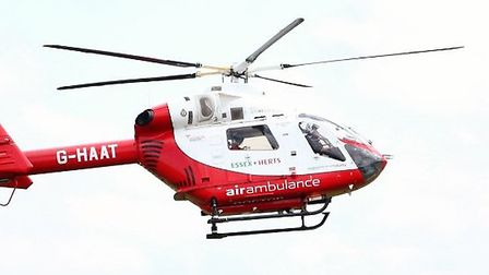 Herts Air Ambulance landed in Stevenage yesterday afternoon after a man fell through a roof on the P