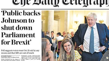 The front page of the Telegraph. Photograph: Twitter.