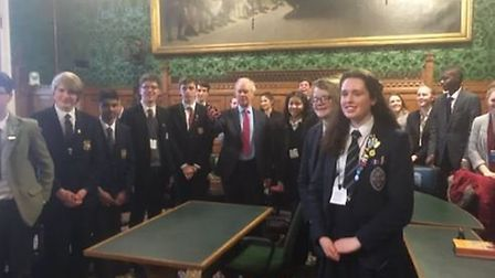 A number of the debaters from Hitchin and Harpenden schools with host Peter Lilley MP.