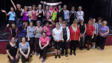 Bronte Thornley and her zumba class members at Hitchin's Queen Mother Theatre after their two-hour s