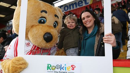 Families enjoy the Rookies Day Nursery family day at Stevenage FC.