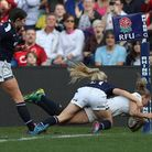 England Women's Kay Wilson score her sixth and her side's 10th try. Photo: Andrew Matthews/PA Wire.