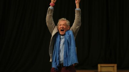 Sir Ian McKellen performs his line from the Lord of the Rings films to students of The Priory School