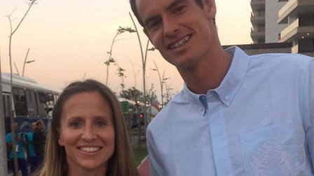 Team GB physio Nicki Combarro from Walkern with tennis champion Sir Andy Murray in Rio de Janeiro du