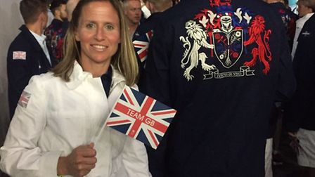 Team GB physio Nicki Combarro during the 2016 Olympic Games opening ceremony in Rio de Janeiro . Pho