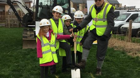 Grace Kennedy, Toby Orrow, Edward Hindley, Matteo Clementi and Rev Guy Scott at the ground-breaking