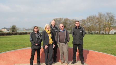Councillor Simon Speller and council leader Sharon Taylor with (left to right) neighbourhood wardens