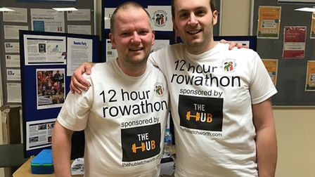 Andrew Hall, left, and Glyn Doggett at the end of the challenge.