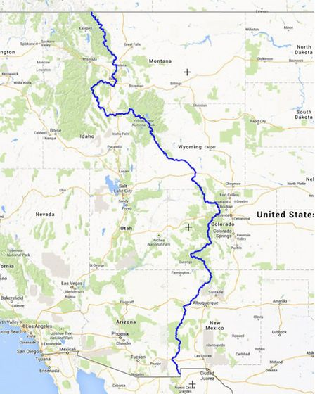 A map showing the Continental Divide Trail route, 3,100 miles from Mexico to Canada through New Mexi