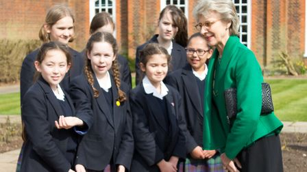 HRH The Duchess of Gloucester meets Year 7 pupils at Princess Helena College