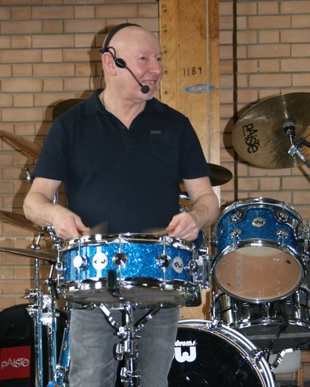 Status Quo drummer Jeff Rich at Fearnhill School. Photo: Courtesy of Fearnhill School