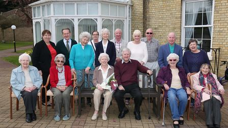 Barbara and George Mitchell (on bench) celebrate their 70th wedding anniversary with friends at Nort
