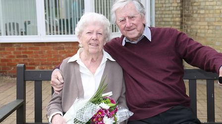 Barbara and George Mitchell celebrate their 70th wedding anniversary with friends at Norton Hall Far