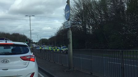 A motorcyclist was injured in the crash on the A602 this morning