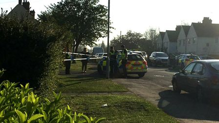 The police cordon in Letchworth's Glebe Road this morning. Photo: @wilshie78 via Twitter