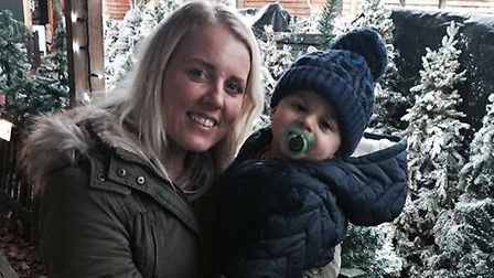Kylie Osborn, pictured with son Roman, is running the Brighton Marathon for her charity Darcie's Wis