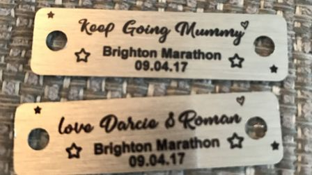 Kylie's personalised trainer tags for the Brighton Marathon.