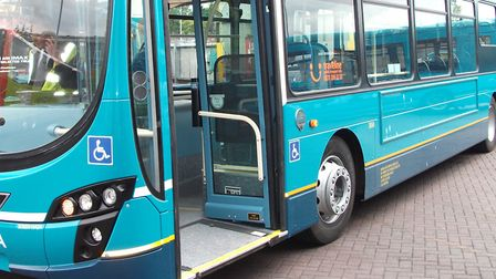 A mum getting off a bus in Letchworth on Tuesday had her toddlers buggy flip and get wedged upside-d