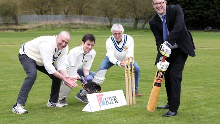 Potton Cricket Club members Steve Highland, Andrew and Rob Bage and Kier managing director Nick Moor