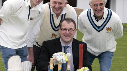 Potton Cricket Club members Andrew Bage, Steve Highland and Rob Bage, with Kier managing director Ni