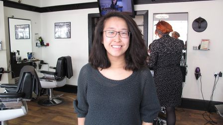 Sarah before her charity head shave at Jiminy Snippets