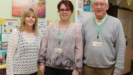 Howard Garden Social Centre treasurer Tony Page with Marion Wheatley and Liz Allen at last month's f