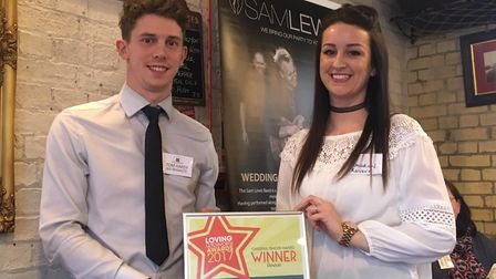Letchworth town centre manager Tom Hardy with Lauren Howard of Revive, which won both customer servi