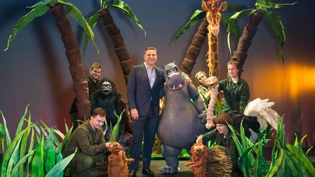 David Walliams on stage with the cast of The First Hippo on the Moon, an adaptation of his book by L