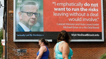A Led By Donkeys billboard promoting Michael Gove's no-deal Brexit comments. Photograph: Twitter.