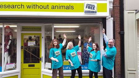 Lara Fuller, Karen Sears, Beth Lloyd and Gerry Reilly from Animal Free Research UK demonstrate the n