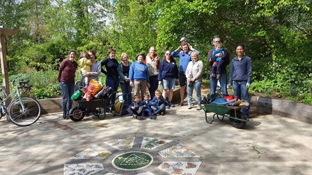 Happy volunters at the Triangle Garden yesterday - before the vandalism took place.