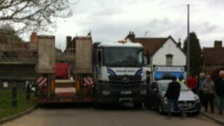 Two lorries have got stuck, blocking St Albans Road in Codicote. Picture: Contributed