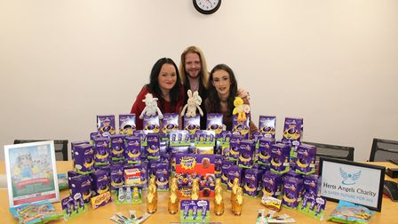 Herts Angels' founder Max Taylor flanked by fellow volunteers Kelly Pauling and Chloe Winters who ha