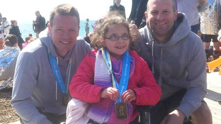 Gary Hall and Stuart Lee with Leila Rainbow after the Brighton Marathon in April 2016. Photo: Courte