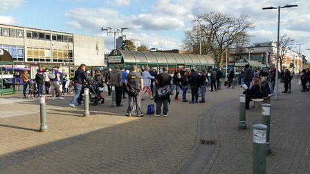 Queues for the Arriva SB7, SB2 and SB3 route buses at Stevenage bus station about 4.30pm on Monday l