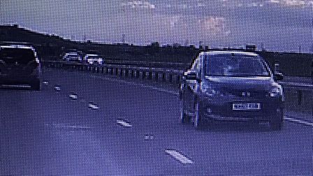 This car was caught on dash cam driving the wrong way. Picture: courtesy of Camilla Greenwood