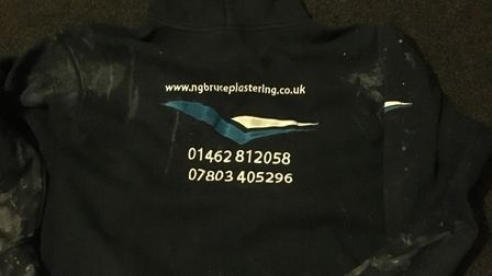A hoody missing Wayne Jeffs from Biggleswade is believed to have with him, from NG Bruce Plastering.
