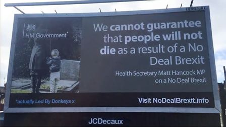 A Led By Donkeys billboard promoting Matt Hancock's no-deal Brexit views. Photograph: Twitter.