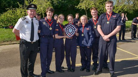 Sandy fire cadets winners with chief fire officer Paul Fuller. Picture: Beds Fire and Rescue