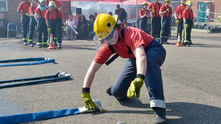 Hose connecting during the Beds fire cadets competition. Picture: Beds Fire and Rescue