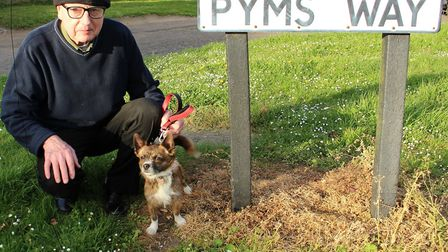 David Yendall next to one of the 'scorched' grass verges
