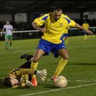 Ian Brown in action for Biggleswade Town against St Albans City. Picture: Bob Walkley