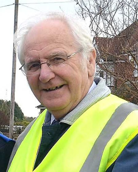 Hugh Harper volunteering with Speed Watch in 2012, when he was chairman of the Arlesey Residents' As