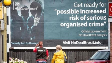 A billboard highlighting government warnings about a no-deal Brexit. Photograph: Twitter.