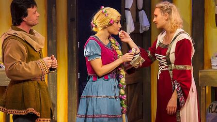 Karl (Mike Holoway), Rapunzel (Samantha Noel) and Sophia (Auriol Hatcher) in Rapunzel the Musical at