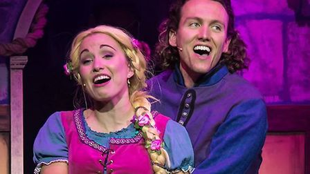 Rapunzel (Samantha Noel) and Prince Freddie (Glenn Adamson) in Rapunzel the Musical at the Gordon Cr