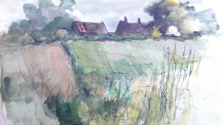 Rooks Nest, former home of author EM Forster, painted in 1997