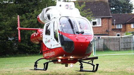 A Herts Air Ambulance landed in Stevenage this afternoon after a man became seriously ill with a sus